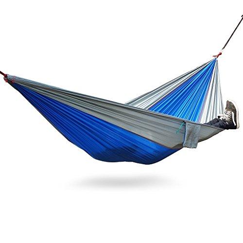 Hamacs, hamac simple suspendu avec sangles darbres Mousquetons - Supporte jusquà 600 lb pour le camping Backpacking, Randonnée, Voyages, Plage, Yard (1-pack, blue-gray)