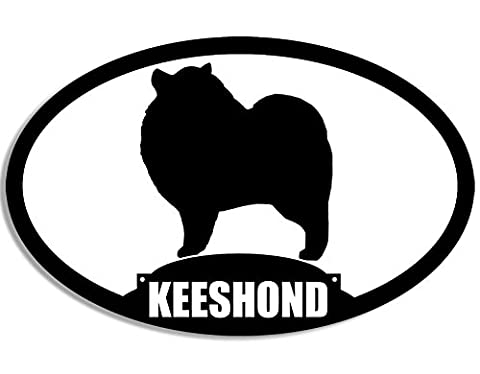 Oval KEESHOND Silhouette Sticker (dog breed)