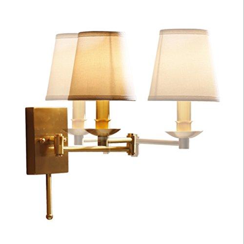 LJL US-Bundesstaat Kupfer Lampe Versenkbare Kopf Stoff Wandleuchte Kupfer Wohnzimmer Schlafzimmer Nachttischlampe Kreativ