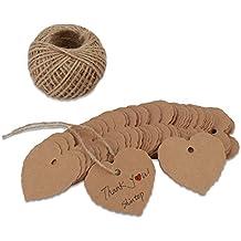 Shintop 100piezas de papel Kraft etiquetas de regalo rectangular Favor gracias etiquetas de regalo con libre 100pies Natural Yute Twine Marrón etiqueta de papel (forma de corazón)