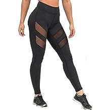 Pantalones mujer deporte Sannysis yoga pantalón chandal negro transparente (L)