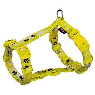 H-Geschirr für Hunde Modern Art Woof, XXS-XS: Brust: 25-35 cm/10 mm, gelb