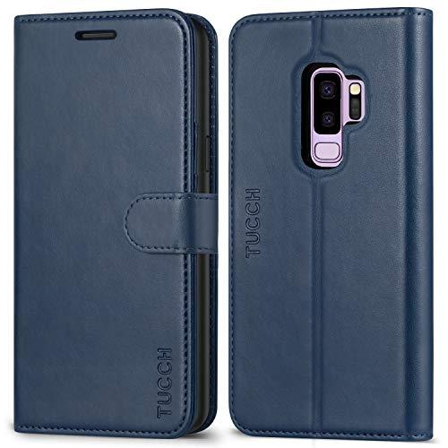 TUCCH Funda Galaxy S9 Plus,Funda Piel para Galaxy S9 Plus con Carcasa de TPU, Garantía de por Vida, Ranuras para Tarjetas, Cierre Magnético, Soporte Plegable, Funda Tapa para S9 Plus - Azul
