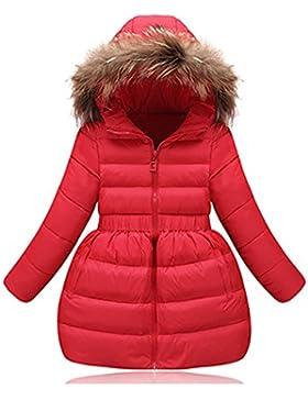 Fille Manteau D'hiver Doudoune Neige Capuche Fourrure Robe Mi-long