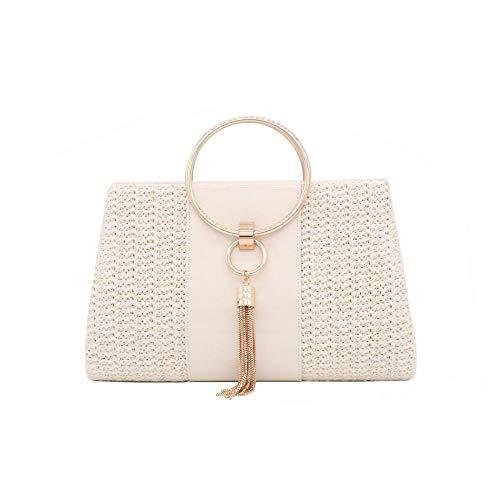 Gewebte Clutch-handtasche (Damen Handtasche aus Stroh mit Umschlag für den Sommer, gewebt, Strandtasche Gr. One size, weiß)