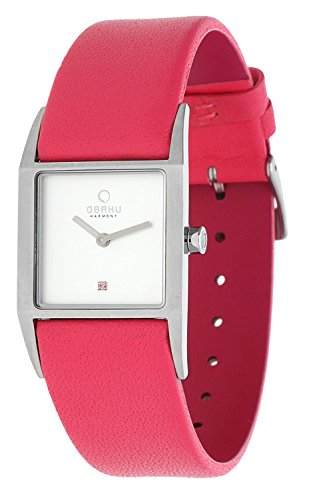 Obaku By Ingersoll Ladies Square Case Pink Leather Strap Watch
