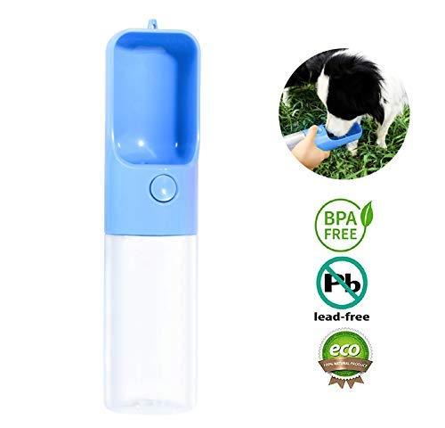Goodquan Wasserflasche, Haustier-Wasserspender, tragbarer Haustier, für Reisen, Wasserbecher, Becher, Napfspender für Katzen und Hunde, zum Wandern, Blau (Boxer Keine Fahrt)