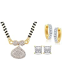 Archi Collection Jewellery Combo Of Gold & Rhodium Plated American Diamond Mangalsutra Pendant With Chain And...