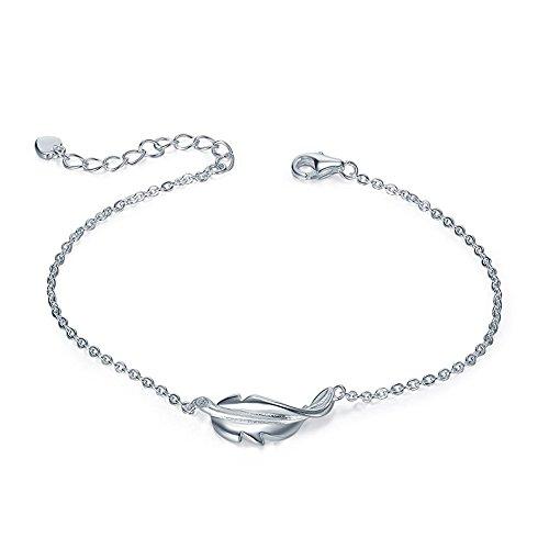 SILVERAGE Frauen Armband Stile Vintage 925 Sterling Silber Feder Armband verstellbaren Charms Armband Armreif