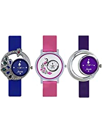 Naksh Fashion Stylish Watch With Fancy Dial And Belt -FOR-women And Girl ( Combo Pack Of 3 )