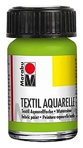 Marabu 17090039061 - Acuarela Textil con Base de Agua, para Tejidos claros, sin olores, Resistente a la luz, Resistente a la Saliva, Tacto Suave, 15 ml, Color Verde