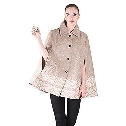 Owncraft Beige Jacquard Wool Cape