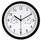 Foxtop Horloge Murale Rond Horloge de Paroi de 10 Pouces Décoratif Avec Thermomètre Hygromètre Affichage Multifonction Mouvement de Balayage Silencieux pour la Salle de Bain (argent)