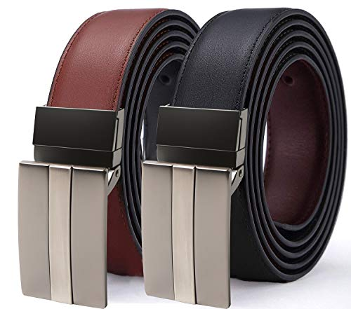 TERSE Christmas Belt Man Genuine Leather Brown Black with Reversible Buckle 3.5 cm Width Length 120 cm Adjustable Size from 36 to 42 inches