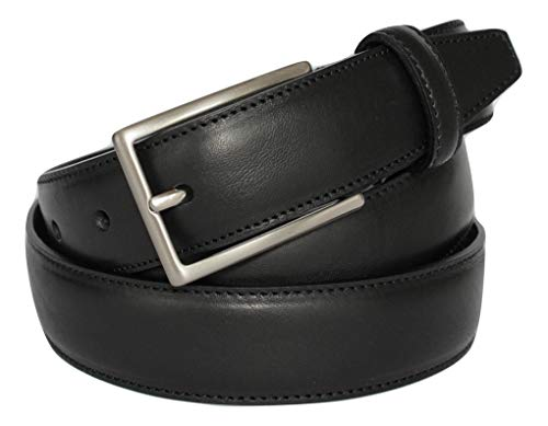 Italoitaly - cintura uomo classica in vera pelle, elegante, nera, ca. 3cm, artigianale, made in italy, accorciabile (girovita 95 cm = lung. totale cm 110)