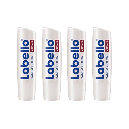 Labello Care & Color Marsala, 2-in-1 Lippenpflegestift gegen trockene und spröde Lippen, 4er Pack (4 x 4,8 g)