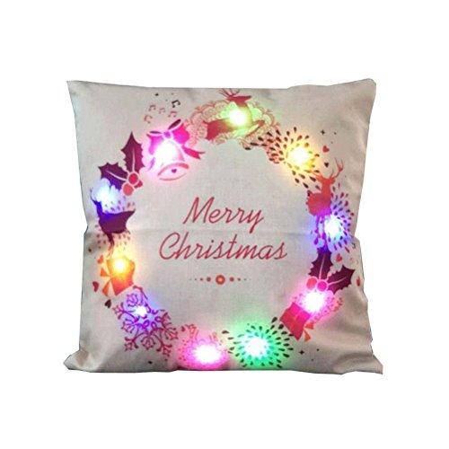 Oulii - copricuscino natalizio in morbido lino con luci led, ideale per decorare case, salotti, stanze da letto, uffici a tema natalizio