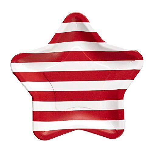 94 Einweg-Pappteller, gestreift, 20 cm, Rot/Weiß ()