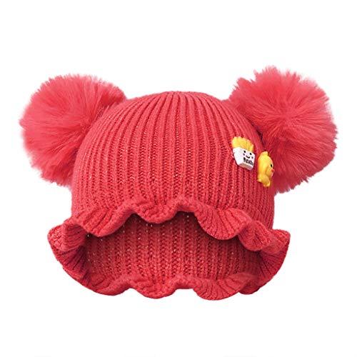 Alwayswin Neugeborene Baby Mode Wintermütze Outdoor Warme Mütze Winter Strickmütze Schal Set Kinder Cartoon Cute Wool Hat Einfarbig Süß Babymütze Strickmütze mit Haarballen -