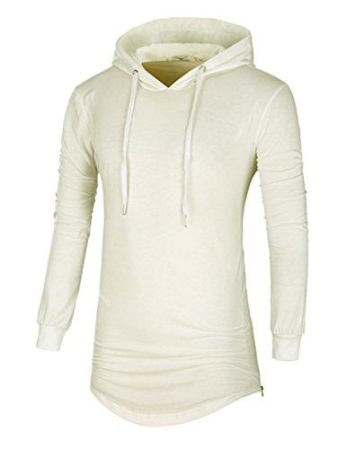 LIANIHK lange Ärmel Poloshirt Herren Slim fit Polo Casual T-shirt mit Kapuze Hoodie 5 Farben Weiß