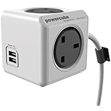 Allocacoc PowerCube Extended USB Power Socket UK - 1.5 Metre - Grey/White