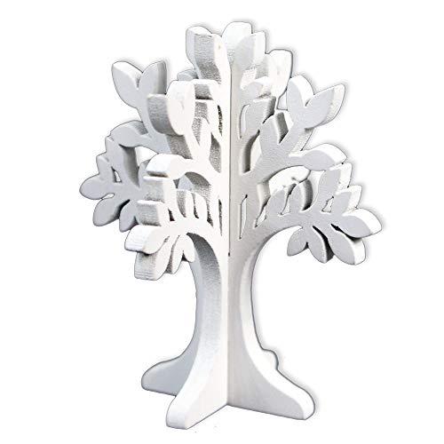 Vetrineinrete® segnaposto albero della vita 24 pezzi in legno bianco per matrimonio battesimo e feste decorazione segnaposti per tavolo 3d varie misure shabby chic (8.5 x 7 cm) d56