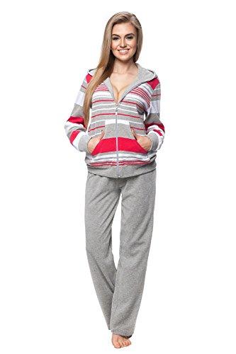 7a07fe8c37 DOROTA Kuscheliger und moderner Baumwoll-Hausanzug mit Taschen,  Reißverschluss & Kapuze, grau-