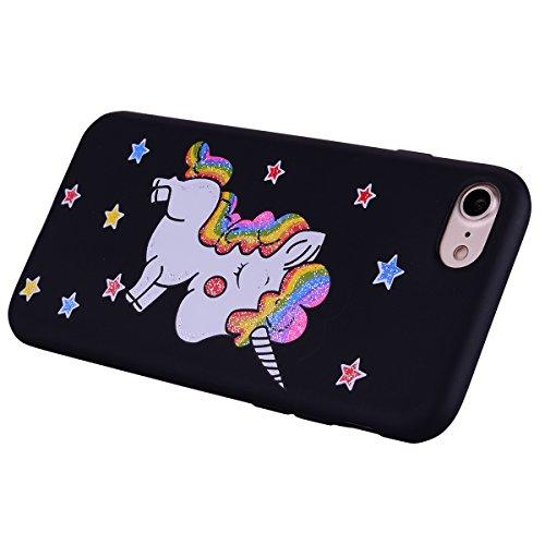 Apple iPhone 7 Hülle, Voguecase Silikon Schutzhülle / Case / Cover / Hülle / TPU Gel Skin für Apple iPhone 7/iPhone 8 4.7(Regenbogen-Einhorn/Blau) + Gratis Universal Eingabestift Regenbogen-Einhorn/Schwarz