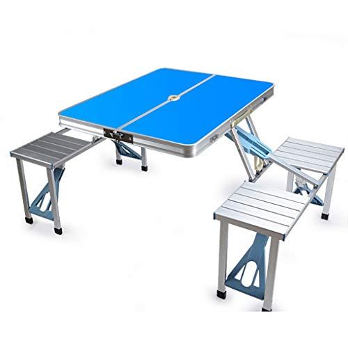 Multifunktionale Tragbare Outdoor-Grill Camping Aluminium Klapp Picknicktisch Tisch Tisch Hocker (Color : Blue) - Teak-klapp-beistelltisch