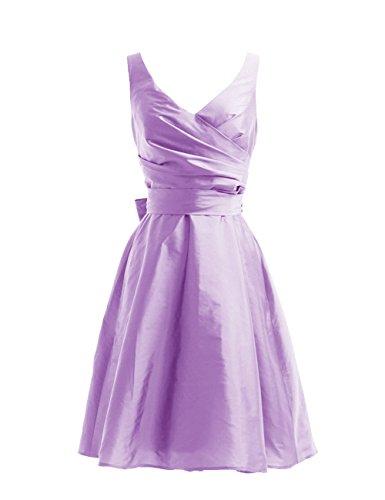 Dressystar Robe de demoiselle d'honneur/de soirée courte, à Col en V, Sans Manches, avec une Ceinture, en Taffetas Lavande