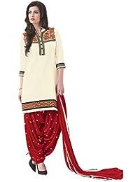 Lords White Satin Cotton Unstitched Patiala Salwar Suit