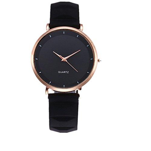 Uhren DELLIN Vansvar Lässige Quarz Silikagel Band Newv Strap Uhr analoge Armbanduhr (Schwarz)
