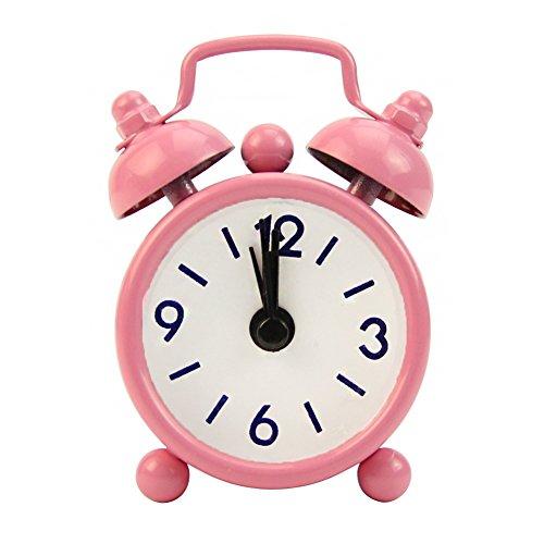 REDAPP 4 Cm Súper Mini Mesita Noche Escritorio Reloj Despertador Casa Clásica Linda Batería Analógica...