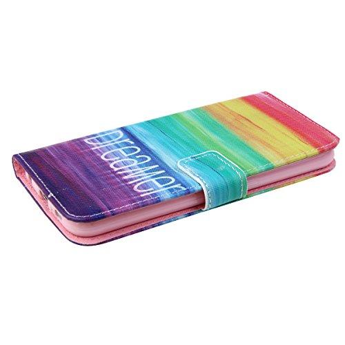 Coque pour Samsung Galaxy S6, Etui pour Samsung Galaxy S6, ISAKEN Peinture Style PU Cuir Flip Magnétique Portefeuille Etui Housse de Protection Coque Étui Case Cover avec Stand Support pour Samsung Ga Rêve Mer
