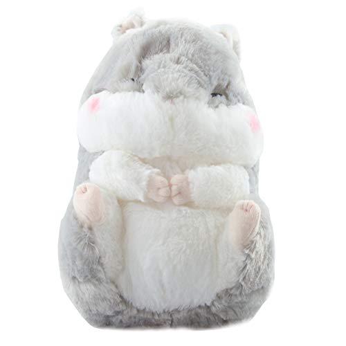 GlamXtensions Hamster Kuscheltier Kissen Plüschtier Spielzeug zum kuscheln in Grau ca. 35 x 25cm weiches 3D Babyspielzeug Anime Fan oder jedes Kind Groß Klein als Geschenk - Merchandise