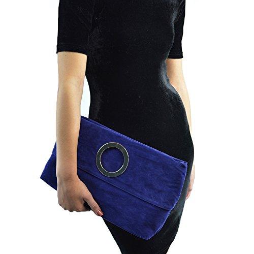ESSEX GLAM Borsa Donna Pochette Sera Pieghevole Finto Scamosciato Maniglia Azzurro Finto Scamosciato