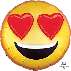 Amscan International- Globo, Color multib:3d emoticon with heart eyes, Small (3907501)