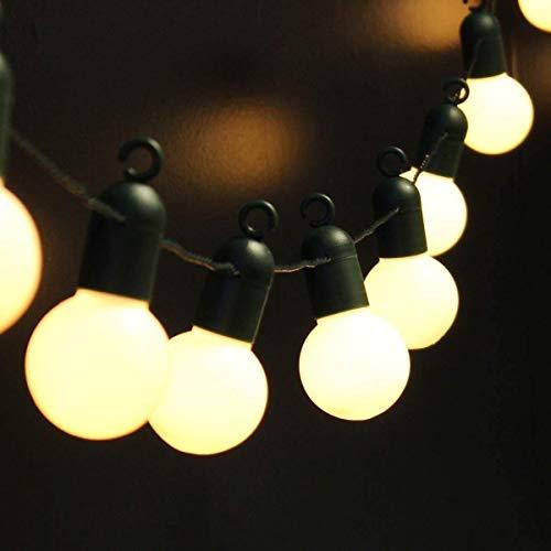 Girlande Birnen Schnur Lichter,KINGCOO 20ft 20LED Ball Globe Festliche Glühbirnen Lichterkette Batteriebetrieben mit Haken für Innen Außen Patio Partei Hochzeits Dekoration(Warmweiß)