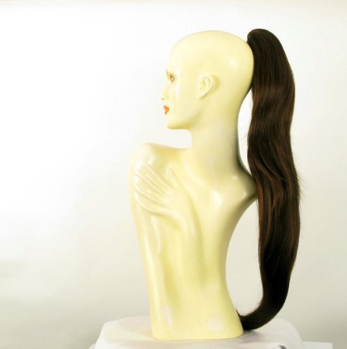 Postiche queue de cheval femme chocolat méché cuivré longue lisse 70 cm ref 5 en 6h30