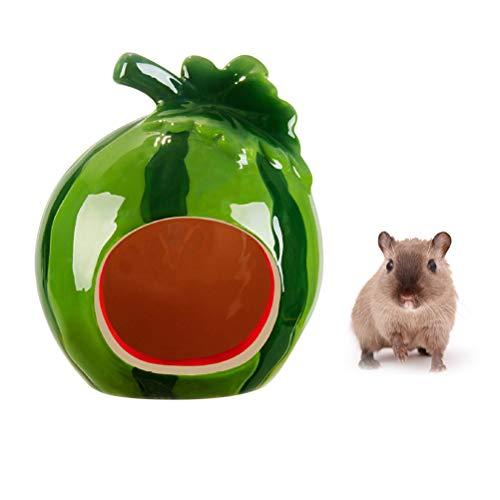 POPETPOP Hamster Hideout Keramikhaus Wassermelone Shape-Critter Badehaushöhle Minihütte Sommer Coole Höhle für Chinchilla Hamster Eichhörnchen Gerbil Syrische Hamsterratte -