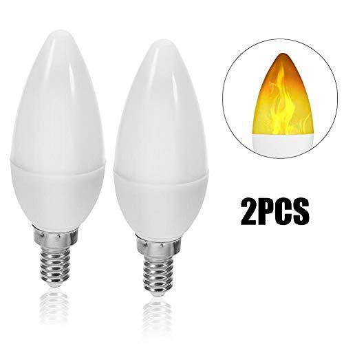 Motto.H 2pcs E14 Flamme Birne, LED Flamme Effekt Glühbirnen, 1,2 Watt Warmweiß LED Kandelaber Glühbirnen, 3-Modus-Kerze Glühbirnen Für Urlaub Geschenke Home Hotel Party Dekoration (Basierten Lampen Led-kandelaber)