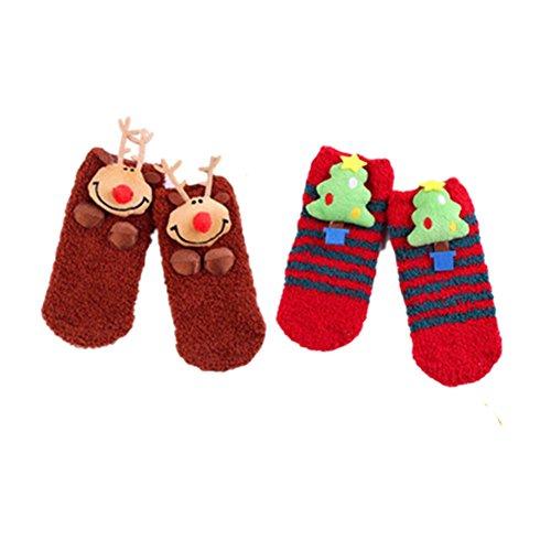 Stillshine 3D Weihnachten Socken, - Childrens Baby Boy oder Mädchen und Erwachsene gemütliche weiche Baumwolle Socken Value Pack für Kleinkind (Stil 2 Erwachsener 2 Paar)