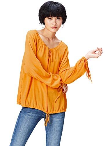 FIND Damen Bluse mit Schnüren Orange (Mango), 34 (Herstellergröße: X-Small)