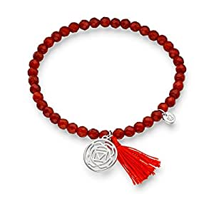 Glanzstücke München Damen-Edelsteinarmband Wurzel-Chakra Sterling Silber Achat rot - Armband mit Silberanhänger spiritueller Schmuck Chakra Anhänger