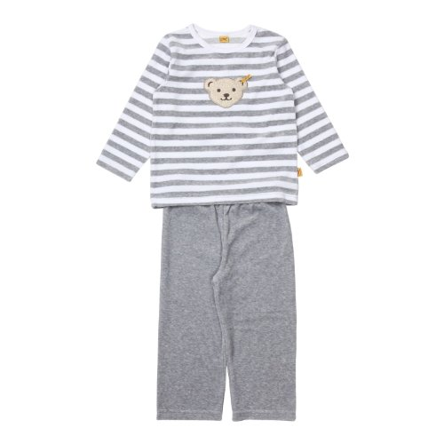 Steiff Unisex - Baby Schlafanzug (Zweiteiler) 2tlg. 0006575, Grau (Steiff softgrey melange|gray 8200), 104