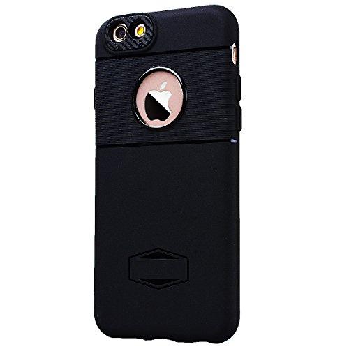 SMART LEGEND iPhone 6S Plus/iPhone 6 Plus Handyhülle mit Magnetische Auto Mount Weiche Silikon Hülle Eingebaute Magnet für KFZ Halter Autohaltung Schutzhülle Matte Bumper Crystal Kirstall Clear Etui U Schwarz