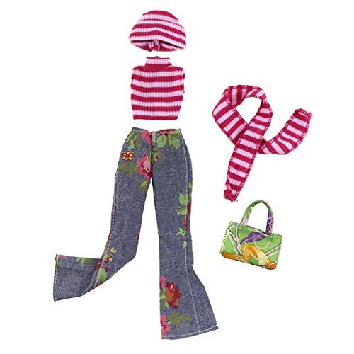 perfeclan Elegante Puppe Winter Kleidung Kostüm Outfit Set für 1/6 Puppen Dress Up Zubehör - B