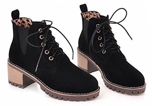 Aisun Femme Classique En Nubuck Low Boots Martin Bottines Noir