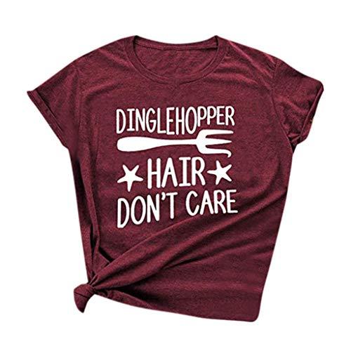 OrchidAmor Damen-T-Shirt mit Buchstaben und kurzen Ärmeln - Rot - XX-Large - Reiten-shirt Coolmax