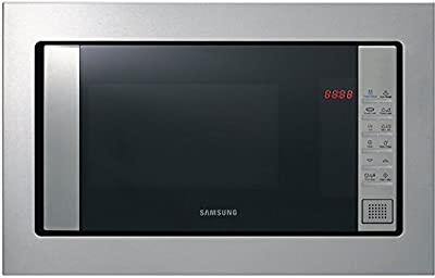 Samsung FG87SST/XEC - Microondas de integración / encastre con grill, 800W/1100W, 23 litros, interior cerámico, acero inoxidable, sistema de ondas TDS, limpieza Vapor Steam Clean, color plata